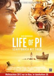 Filmposter Life of Pi: Schiffbruch mit Tiger