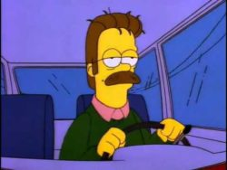 Ned Flanders am Steuer